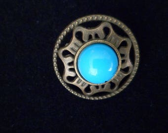 2 Cabochon Turquoise 18 mm, Bronze Metal shank buttons