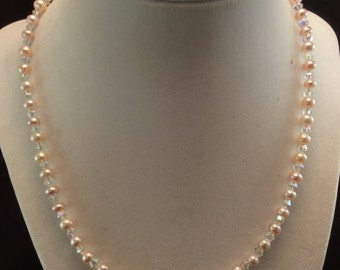 Peach Button Cultured Freshwater Pearl and Crystal Sterling Silver Necklace, Ladies Pearl Necklace