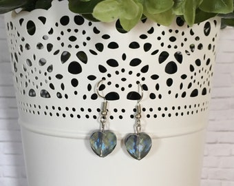 Sparkle Heart Shaped Dangle Earrings / Valentines Day / Mothers Day / Gift / Special Occasion / Love