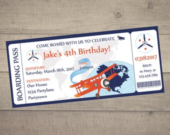 Boarding Pass Birthday Invitation, Airplane Birthday Invitation, Airplane Boarding Pass, Airplane Ticket -digital file. FREE Thank You card!