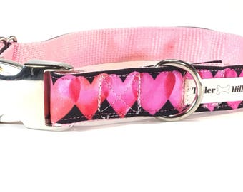 Pink hearts Valentine's Day Dog Collar - red and black dog collar - Dog Collar - Modern Dog Collar - Girl Dog Collar - valentine dog collar
