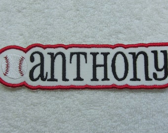 Name Patch with Baseball Personalized Single Name Patch Fabric Embroidered Iron On Applique Patch MADE TO ORDER