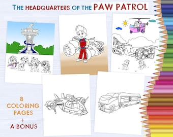 Paw Patrol's Heros - kids coloring sheets, Cartoon character coloring, hand drawn coloring printable, drawing activity pages DOWNLOAD