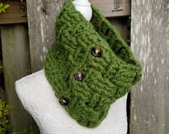 Green Lovers Gift, Gift For Her, Chunky Clothing, Winter Chunky Scarf, Winter Clothing Gift, Winter Knit Cowl, Winter Outdoor Gift