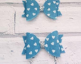 1 x Handmade Girls Hair Bow accessory on alligator clip - Denim hearts