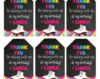 Girls Roller SKATE Birthday Party Thank You Tags