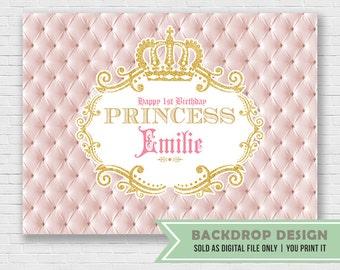 Princess Crown Royal Backdrop // Glitter Gold Royal Backdrop Banner