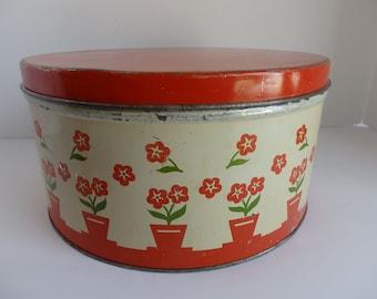 Large round Vintage Tin. Farmhouse Kitchen Decor. Red and White Farmhouse Kitchen Tin.