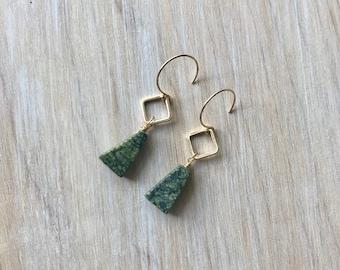 Green Jasper Gold Wire Wrapped Handmade Gemstone Earrings
