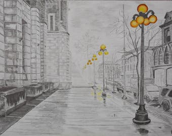 Original Handmade Graphite and colored pencil Drawing Rainy street with streetlights cityscape fine art A3 size drawing