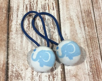 "7/8"" Size 36 Light Blue/White/Cyan Blue Elephant with Heart Fabric Covered Button Hair Tie / Ponytail Holder / Party Favor (Set of 2)"