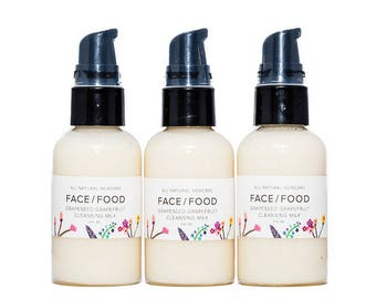 Grapeseed & Grapefruit Cleansing Milk/All Natural Face Wash/ Raw Honey/Organic Coconut Oil/Anti-aging/ALL SKIN TYPES/Gentle Cleanser.