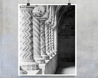 Black and White Photography Stone carved church pillars Sicily Italy 16x20 20x30 10x8 11x14 big print poster photograph wall art home decor