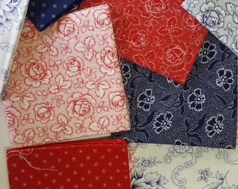 19 fat quarters dutch colours and dutch hankie red white blue