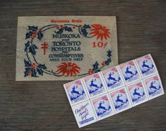 Christmas - Christmas seals 1938, Muskoka and Toronto Hospitals, collectible seals