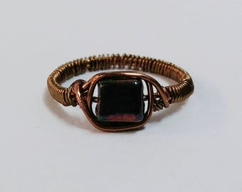 Wire Wrapped Dark Bead Ring
