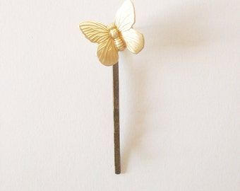 Gold Butterfly Bobby Pin Bridal Hair Clip Bridesmaid Insect Garden Nature Rustic Woodland Wedding Accessories Unique Womens Gift For Her