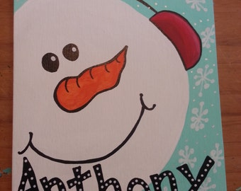 Snowman painting personalized
