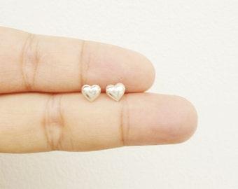 925 Sterling Silver Puff Heart Stud Earrings Heart Post Earrings - Minimal Jewelry Hypoallergenic Earrings Second Hole Earrings