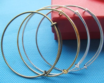 Fashion High Quality Expandable Bangle Alloy Wire Bracelet,Adjustable,DIY Accessory Jewellery Making,For Beading and Charm