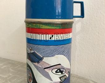 Vintage 1967 Blue Auto Race Thermos