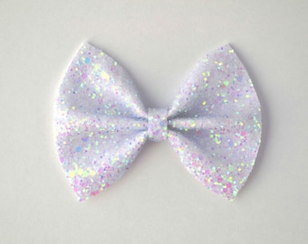 Pastel White Glitter Bow Adorable Photo Prop Pictures Headband for Newborn Baby Little Girl Child Adult Spring Summer Valentines Easter Clip