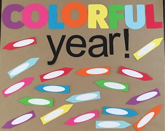 Bulletin Board- Colorful Year, back to school sign, paper letters, classroom sign, premade paper letters, bulletin board, welcome back