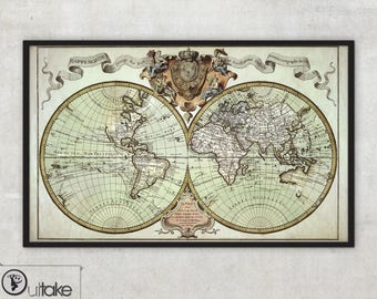 Antique map of the world - archival quality print, wall map art - 040