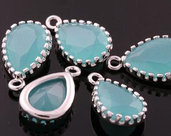 2pcs-12mmX8mm Rhodium Faceted Tear Drop glass pendants-Mint(M309S-D)