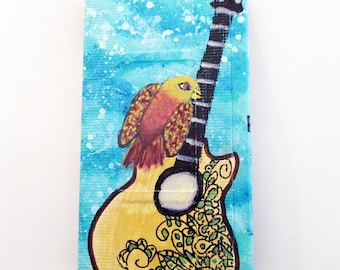 Guitar with Red Birds original painting - art on recycled VHS tape, Folk wall art, music lover gift,