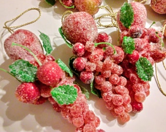 Vintage Lot of 11 Sugared Fruit Clusters Cherries Grapes Apples