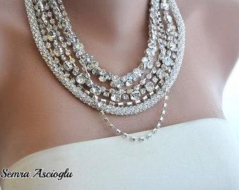 Handmade Rhinestone Necklace,Bridal Sparkle Necklace Chunky Layered Necklace with Rhinestones