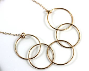 Geometric Bronze Cascadia loop Necklace | Bronze circle Necklace | Art Deco | Necklace Victoria BC Vancouver Island Canada