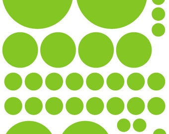 70 Lime Green Vinyl Polka Dots Bedroom Wall Decals Stickers Teen Kids Baby Girl Nursery Dorm Room Removable Custom Made Easy to Install