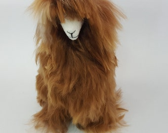 Handmade Authentic Peruvian Llama Doll with Alpaca Suri Fur 11.5 inch