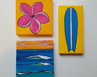 Set of 3 Mini Paintings (Plumeria, Waves, Surfboard) 3in x 3in and 2in x 4in