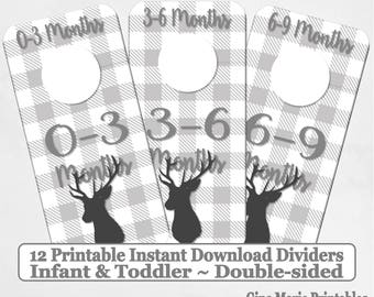 Printable 12 Baby Toddler Double-Sided Closet Dividers Grey Buffalo Plaid Deer Sizes NB-6 - DIY Instant Download - Baby Shower Gift Nursery