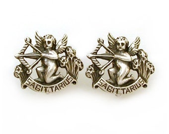 Sagittarius Earrings Sterling Cini Zodiac Sagittarius Cini Astrology Earrings, Vintage Sterling Zodiac, Sagittarius Birthday Cherub Earrings