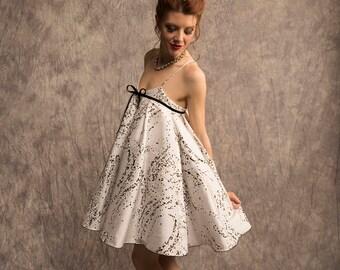 Baby doll party dress, painted raw silk, Spaghetti strap dress, fancy dress, bachelorette party dress, silk cocktail dress