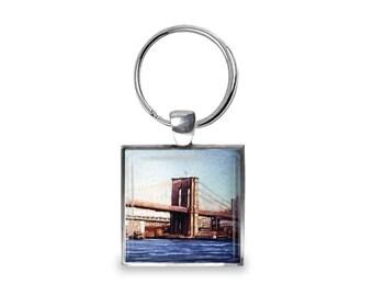Brooklyn Bridge - Glass Photo Keychain - Handmade