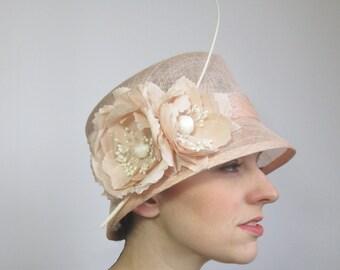 Peach Wedding Hat - Womens Hat, Ladies Hat, Peach Hat, Formal Hat, Races Hat, Wedding Hat, Sinamay Hat, Summer Wedding, Cloche Hat