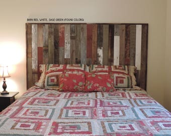 """Rustic Queen Panel Headboard (67.5"""" X 37.5"""") made of Reclaimed, Recycled Barn Wood. Wallmounted.  Your Choice of Accent Colors"""