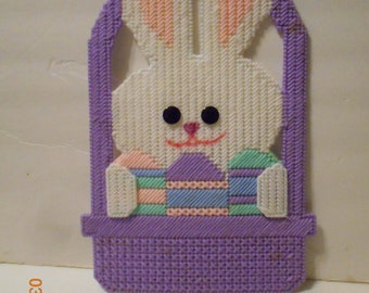 Bunny in Basket, Wall hanging, plastic canvas, Easter
