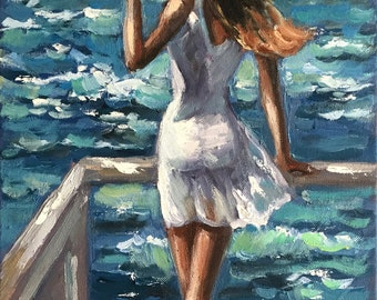 Origina oil painting Female painting Seascape Wall art 30x60cm