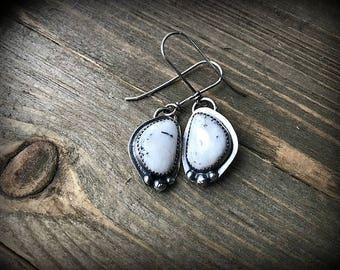 White Buffalo Turquoise Sterling Silver Earrings