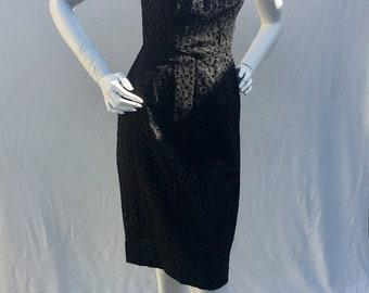 Vintage Sue Leslie 1950s 50s keyhole Black Eyelet wiggle dress