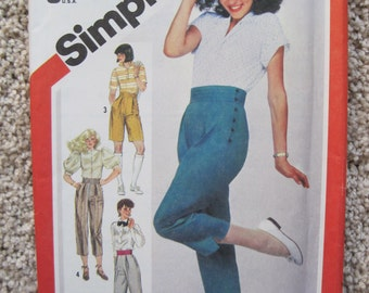 UNCUT Misses Fashion Pants in Four Lengths - Size 6/8 - Simplicity Sewing Pattern 5898 - Vintage 1983