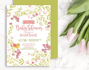 Floral Wreath Baby Shower Invitation Printable Digital Download Personalized Baby Shower Invite Spring Baby Shower Floral Invitation