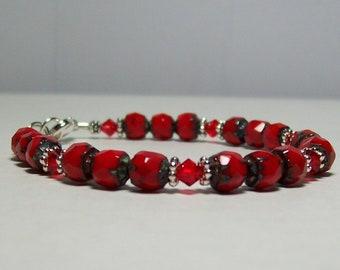 Red Picasso Bracelet. Czech Renaissance Beads and Swarovski Crystals.
