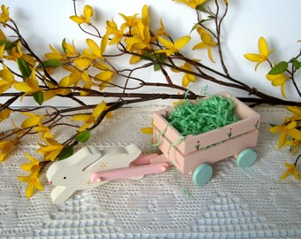 Vintage Wooden Easter Rabbit with Wagon Pull Toy - 1960's - White rabbit, Pink wagon, Hand Painted, Wooden, Easter Decoration, Spring